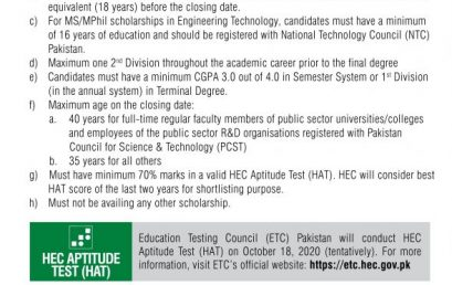 HEC Overseas Scholarships for Pakistani Students