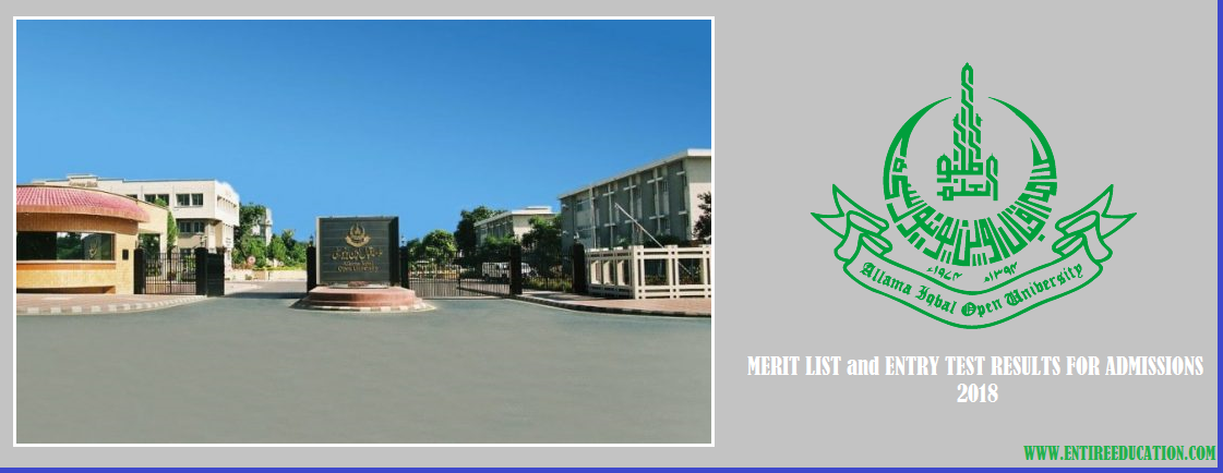 Allama Iqbal Open University AIOU Merit List and MPhil/PhD. Entry Test Results for Admission 2019