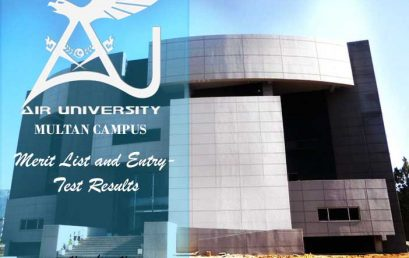 Air University Multan Merit List and Entry Test Results for admissions 2019