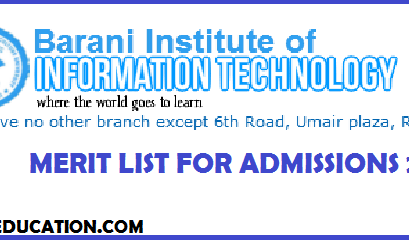 BARANI Institute of Information Technology Rawalpindi BIIT Merit List for Admissions 2020
