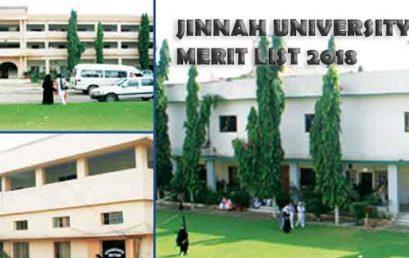 Jinnah University for Women Karachi Merit List and Entry test results 2020