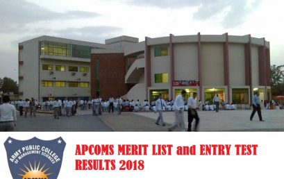APCOMS University Merit List and Entry Test Results for Admission 2019