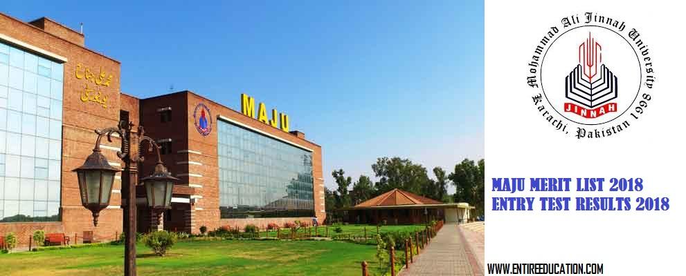 MAJU University Merit List 2020 and Entry Test Result