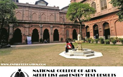 National College of Arts Merit list and Entry Test Results 2019