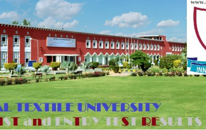 National Textile University Merit List, Entry Test Results for Admissions 2019