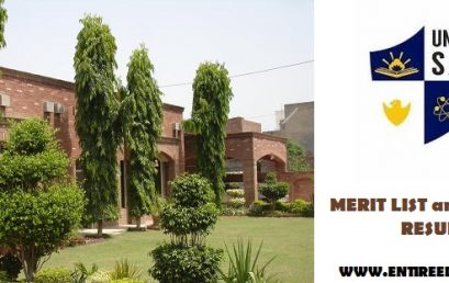 University Of Sahiwal Merit List and Entry Test Results For Admission 2020