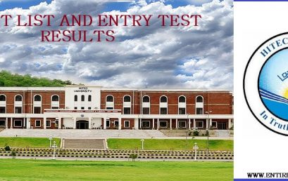 HITEC University Merit List and Entry Test Results for Admissions 2020