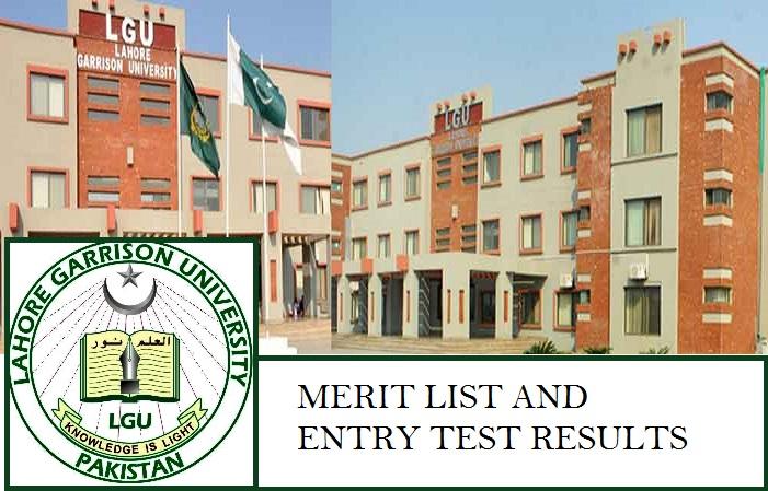 Lahore Garrison University Merit List and Entry Test Resultfor Admissions 2019