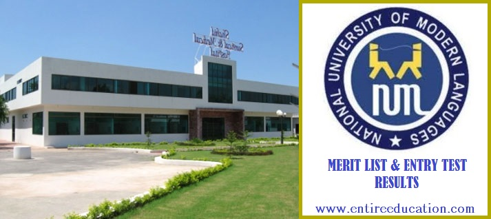 NUML Hyderabad Merit List and Entry Test Results for admissions 2019