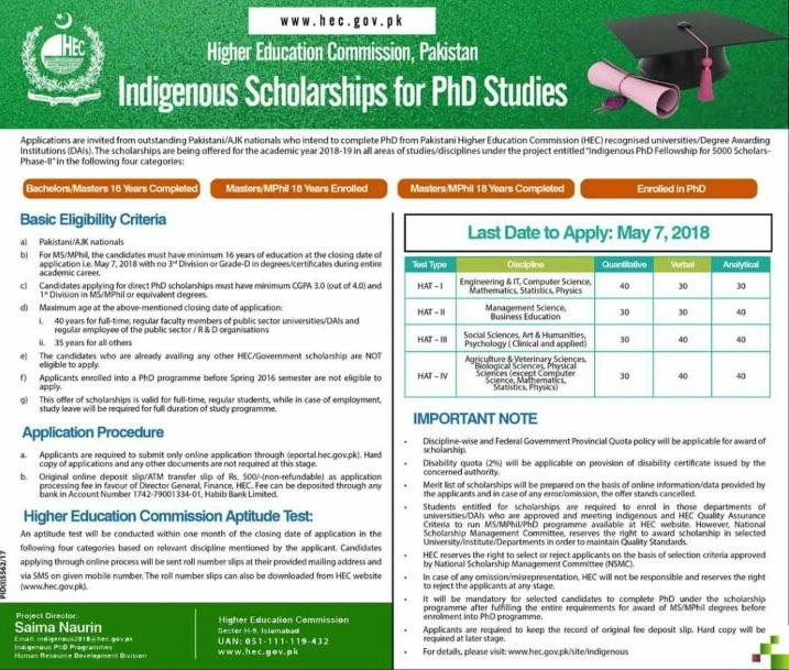 HEC Indigenous Scholarship For PhD Studies 2020 Last Date