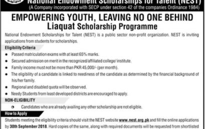 National Endowment Scholarships For Talent (NEST) 2021 Application Form