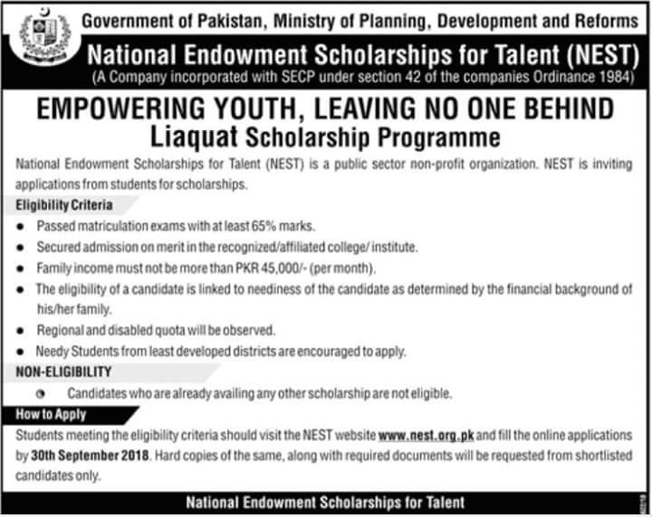 National Endowment Scholarships For Talent (NEST) 2021 Application Form