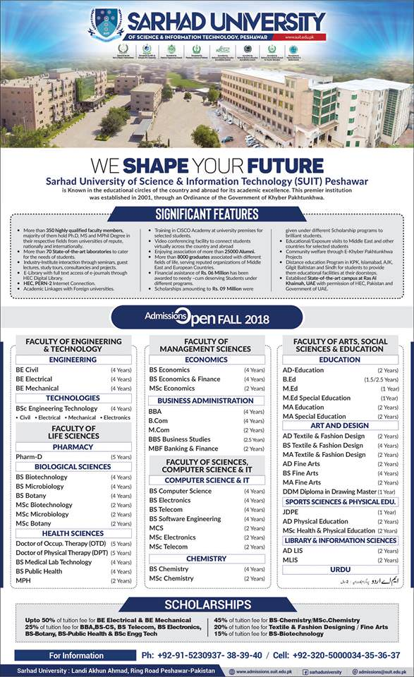 Sarhad University (SUIT) Peshawar Admission