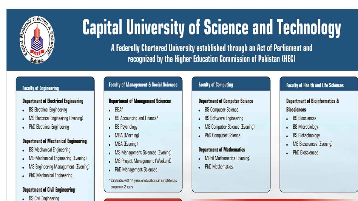 Capital University of Science and Technology Islamabad Merit list and Entry Test Results for admissions 2021