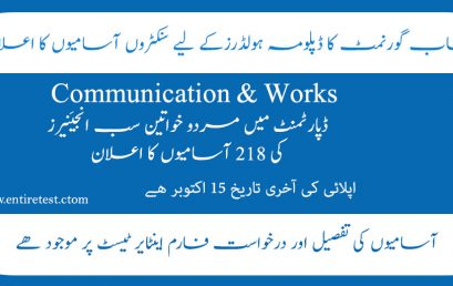PPSC Sub engineer Civil Jobs in Communication and Works Department 2021
